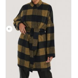 Wool Blend Checked Short Coat